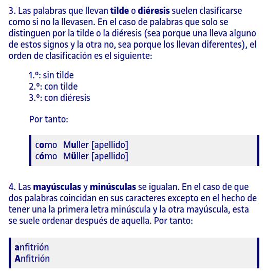 Criterios ordenación alfabética español