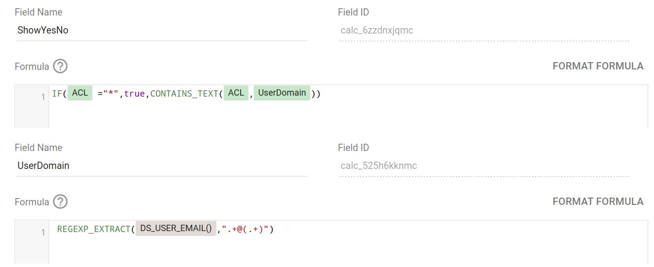 Domain-based filtering using DS_USER_EMAIL() in a calculated field. Just set up a filter and call it a day.