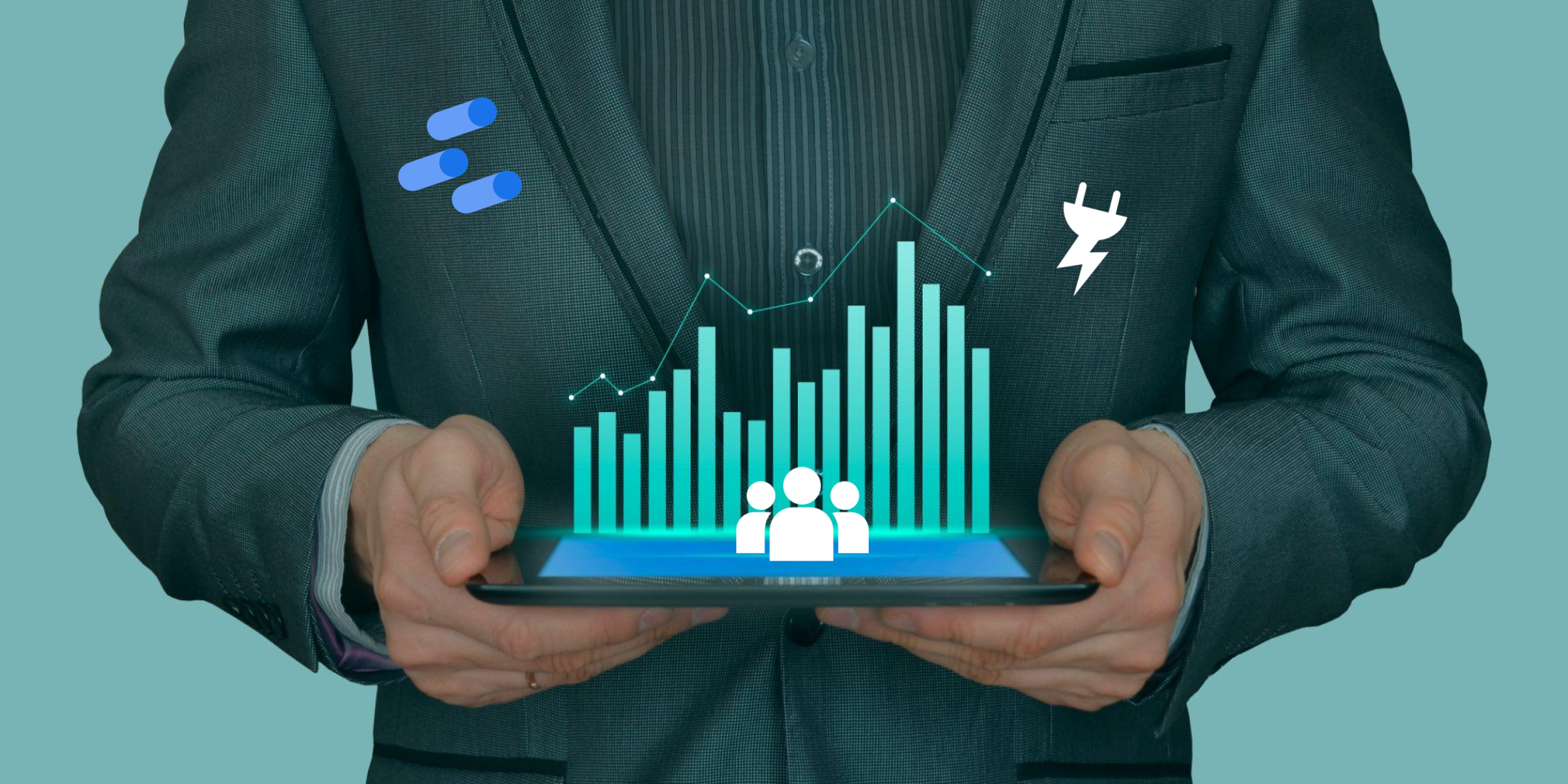 Man with a Data Studio and plug icons on his sleeves holding a tablet with a chart and some human-like silhouettes.