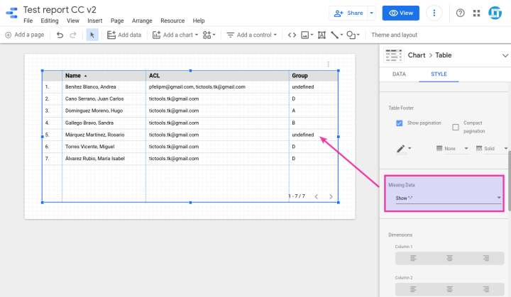 Undefined values in a table chart and missing data settings in Data Studio.
