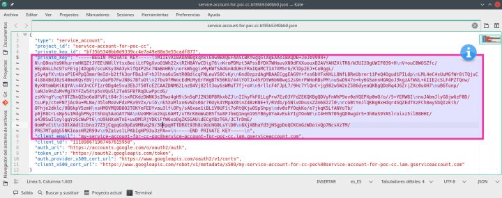 Service account JSON file.