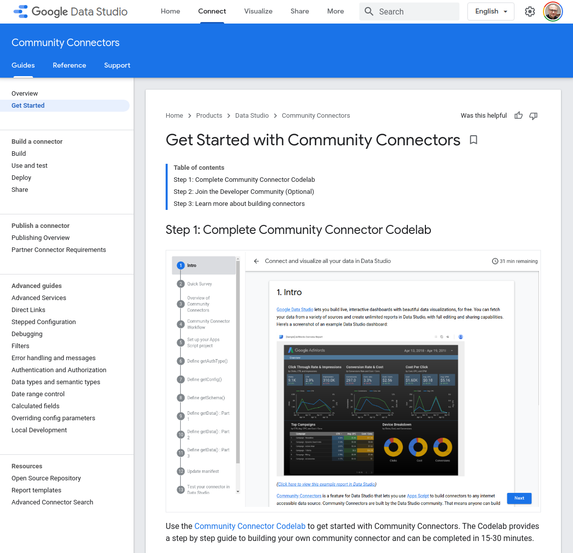 Community Connectors getting started page by Google.