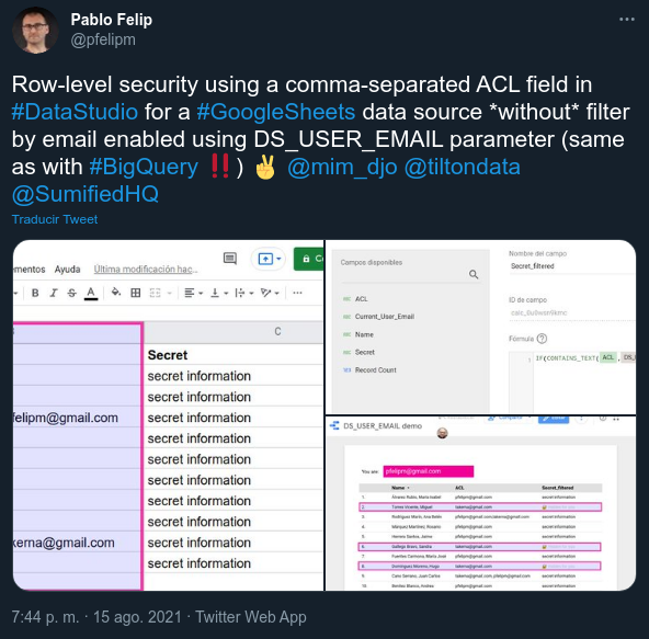 Tweet about the new DS_USER_EMAIL parameter.