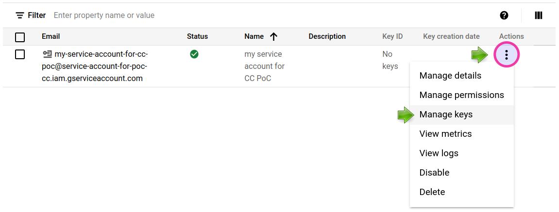 Google Cloud Console: Manage keys.