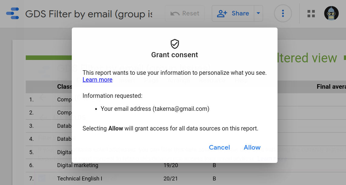 Grant consent dialogue to share email with data source.