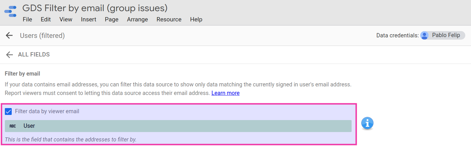 Email field for filtering.