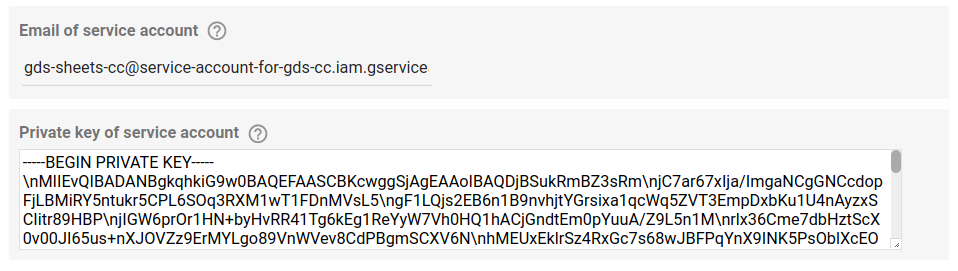 Config params (text input and text area)  for the service account.