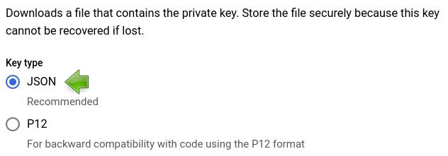 Google Cloud Console: Choosing key type.