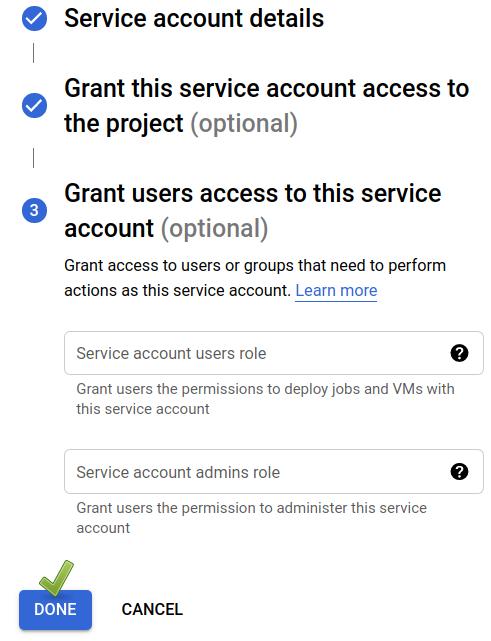 Google Cloud Console: New service account dialogue (2/2).