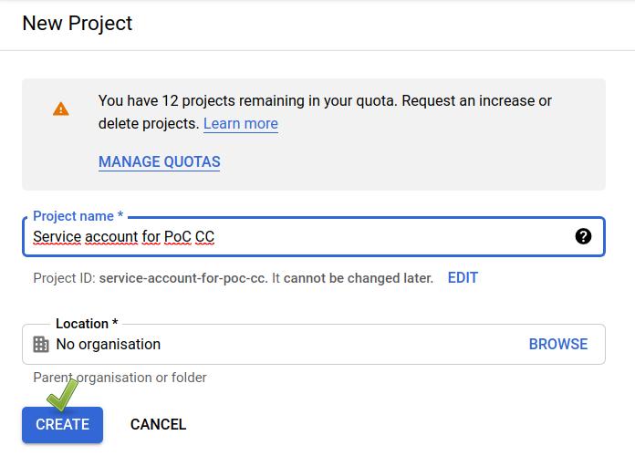 Google Cloud Console: New service account dialogue (1/2).