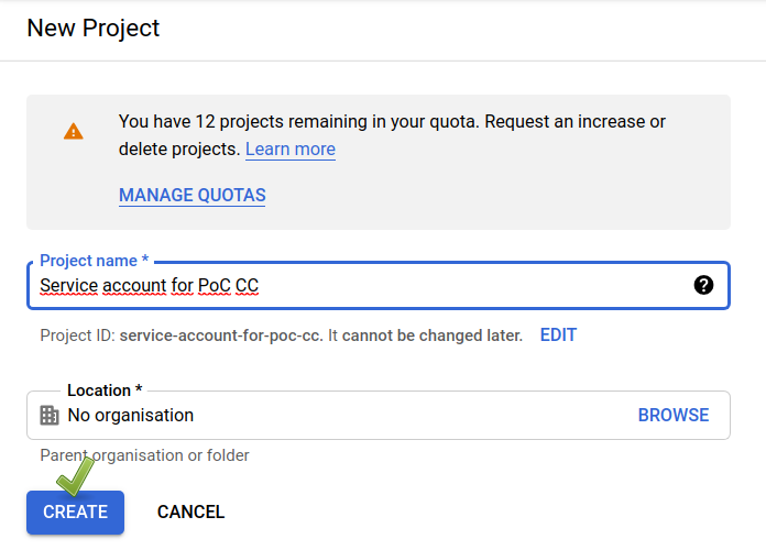 Google Cloud Console: new project (2/2).