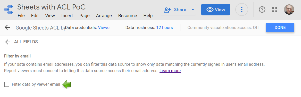 Filter by email is disabled in the data source.
