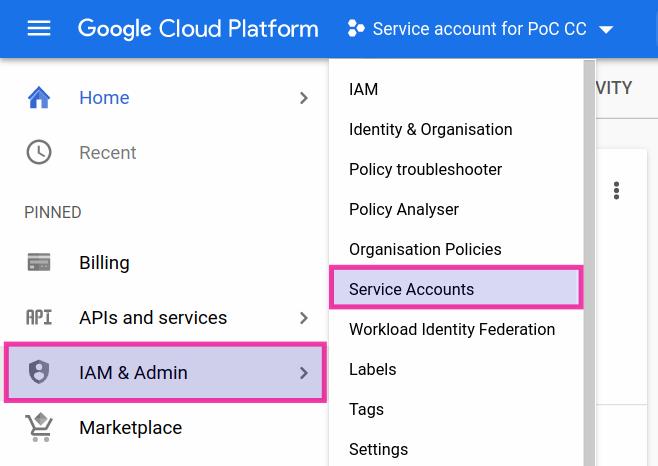Google Cloud Console: Service accounts (1/2).