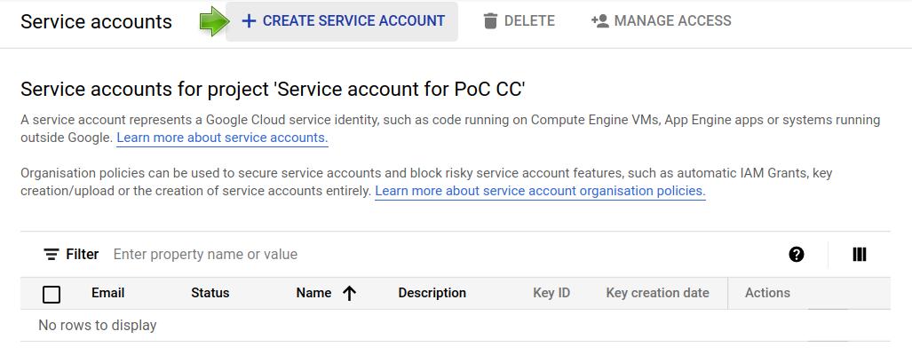 Google Cloud Console: Service accounts (2/2).