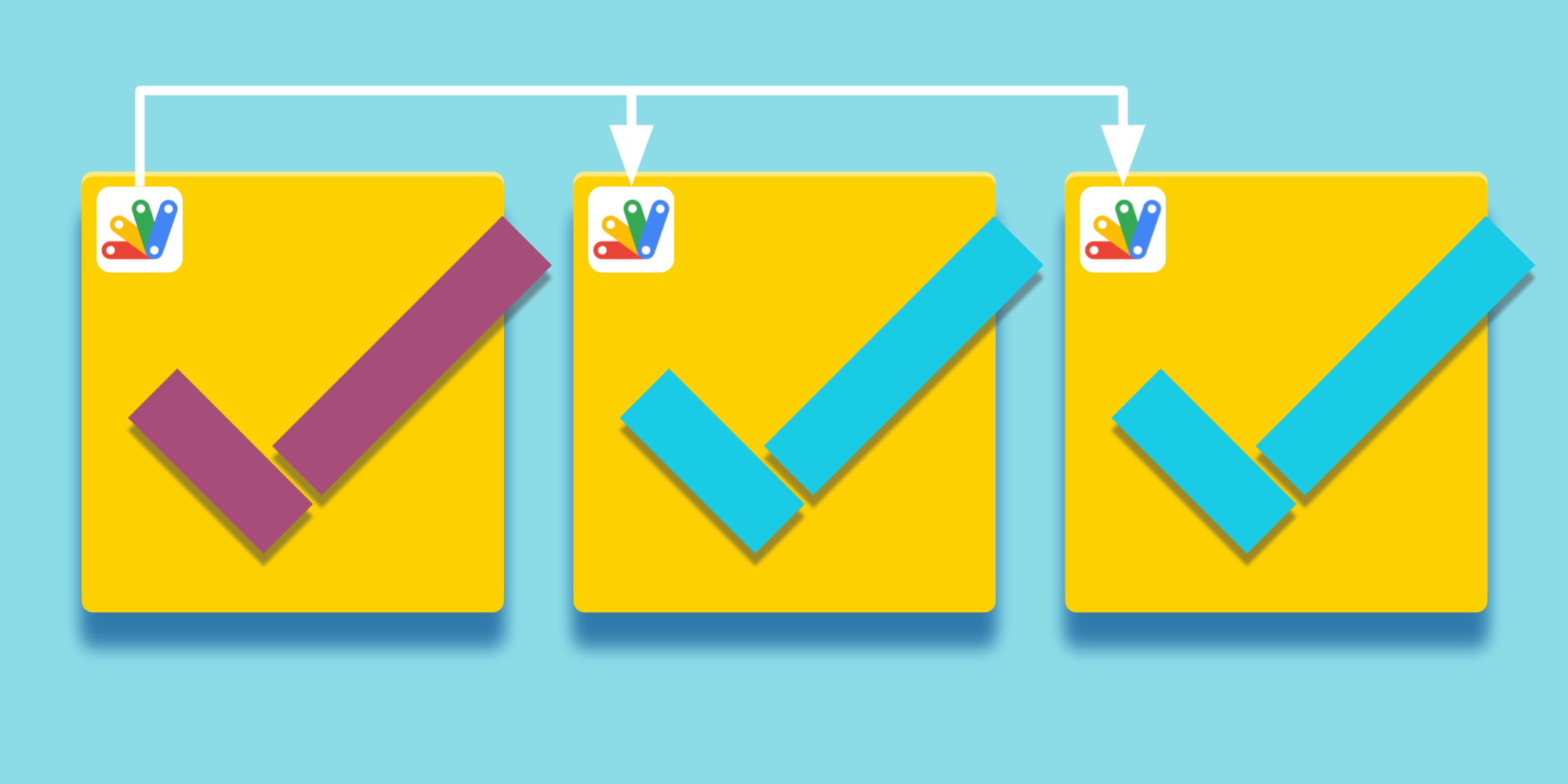 Some checkboxes connected with arrows and Apps Script icon.