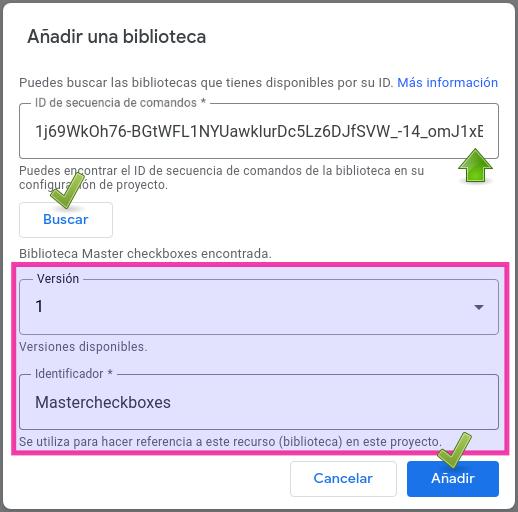 Ventana para añadir una biblioteca a un proyecto Apps Script.